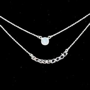 Outlander Inspired Sassenach Silver Double Chain Necklace with Moonstone 9995